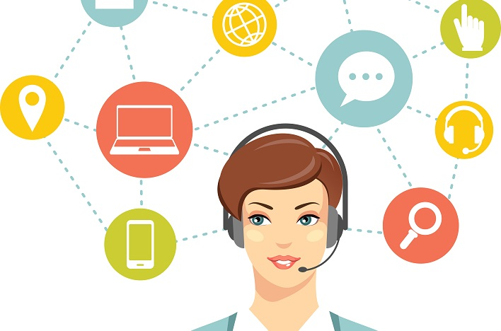 Beautiful woman in call center and networking flat icons